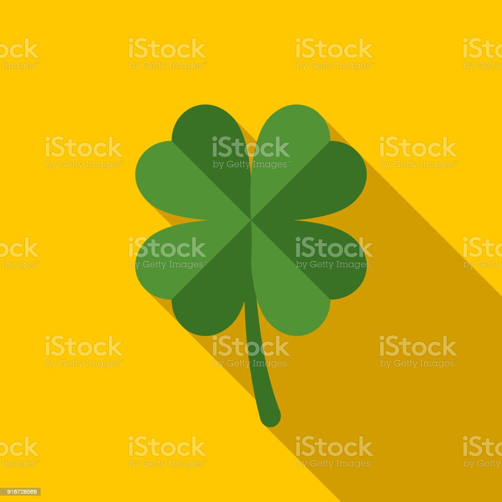 Lucky Shamrock Flat Design St. Patrick's Day Icon vector art illustration