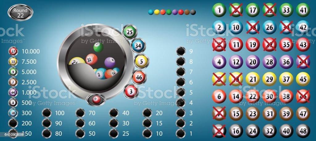 Lucky Six Bingo - ilustración de arte vectorial