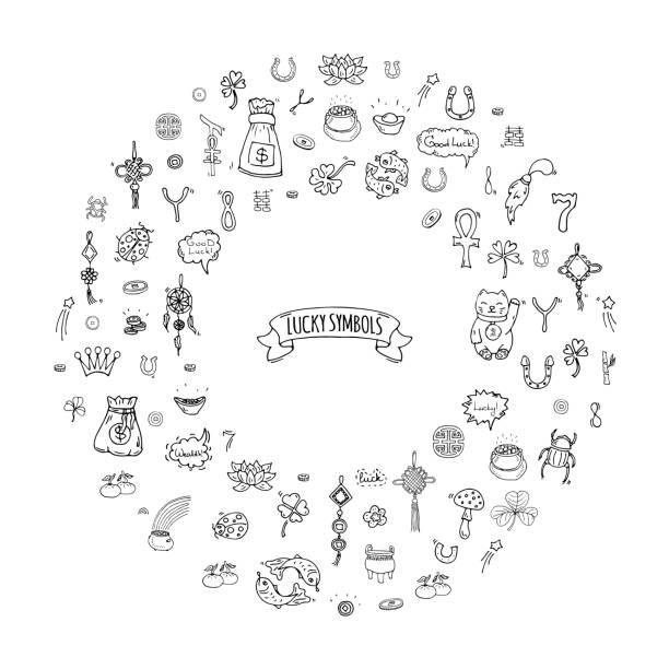 Lucky symbols vector art illustration