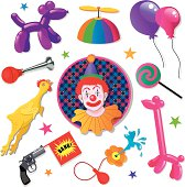 A vector illustration of a clown named Lucky and his clowning accessories.