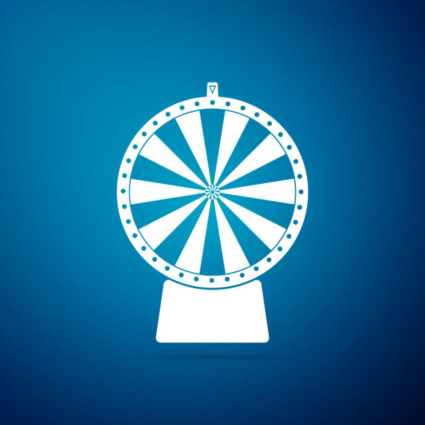 stockillustraties, clipart, cartoons en iconen met lucky wheel pictogram geïsoleerd op blauwe achtergrond. platte ontwerp. vectorillustratie - ronddraaien