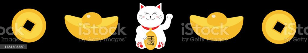 Lucky white cat sitting and holding golden coin. Chinese gold Ingot...