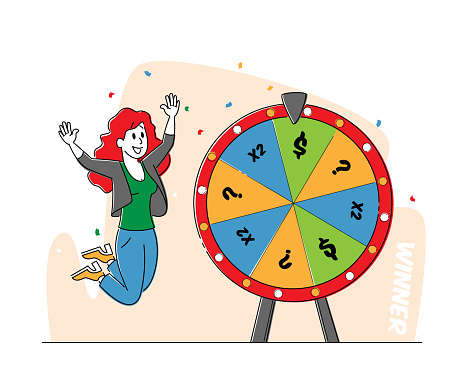 Lucky Woman Character Win Jackpot, Bingo Lottery on Fortune Wheel in Casino or Gaming House. Happy Girl Player Rejoice