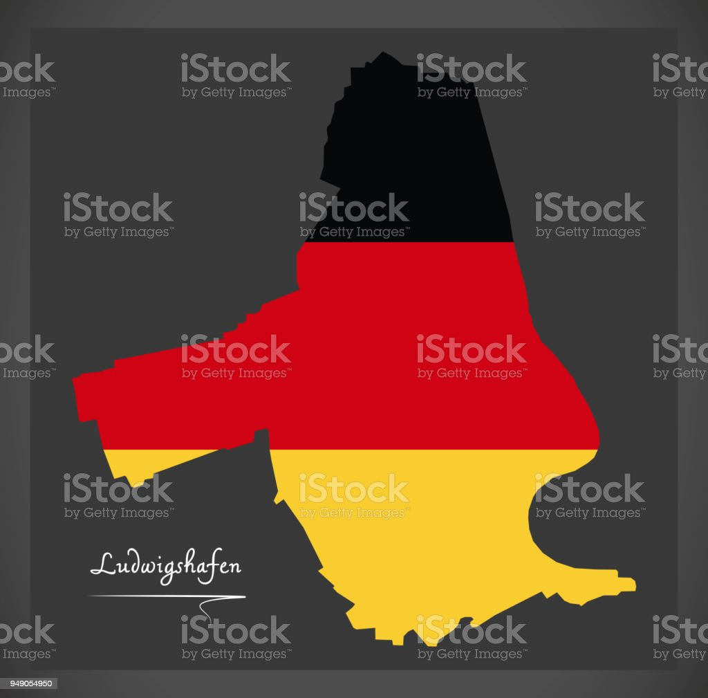 Ludwigshafen map with German national flag illustration vector art illustration