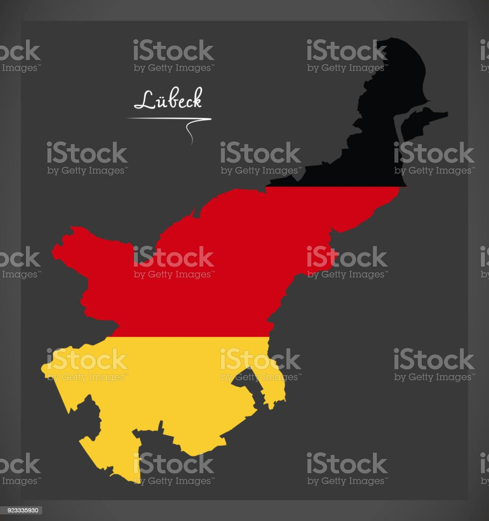 Luebeck map with German national flag illustration vector art illustration