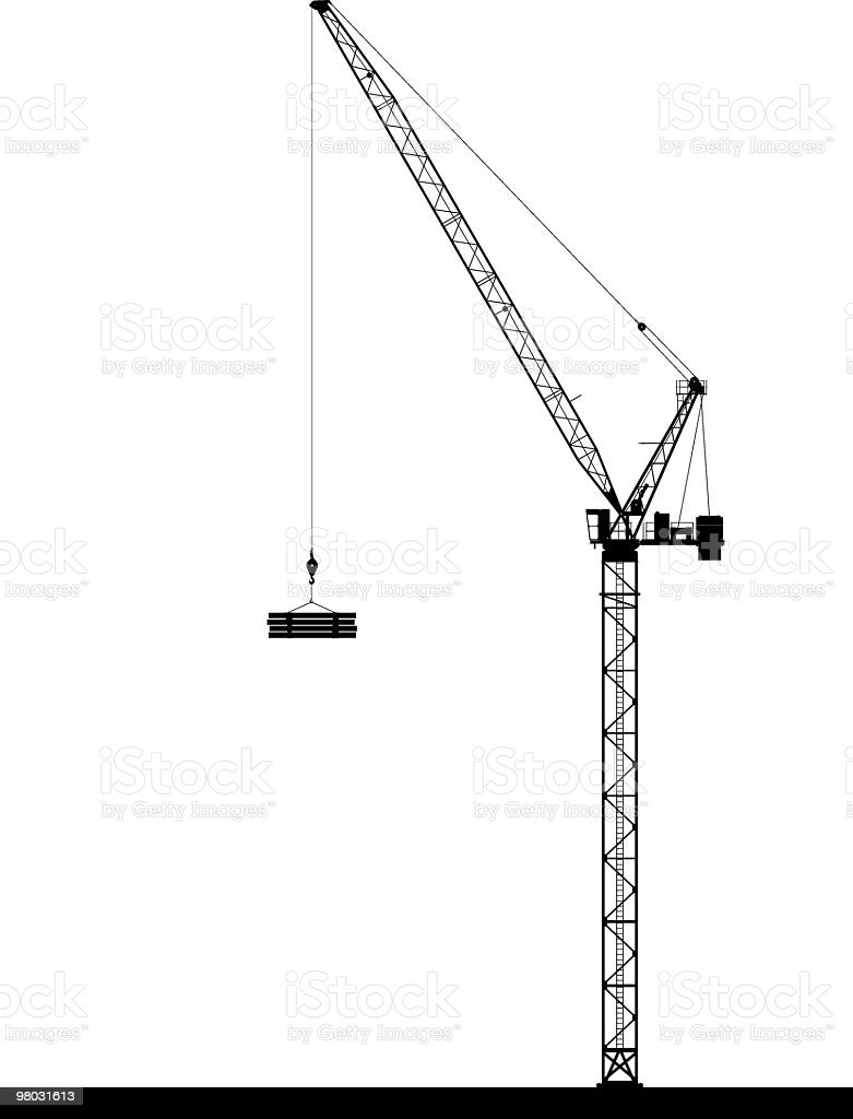 Luffing tower crane side view royalty-free luffing tower crane side view stock vector art & more images of building - activity