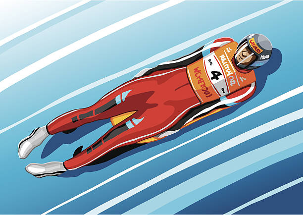 Luge Racer Vector Illustration of a fast luge racer in a tube of ice. The background is on a separate layer, so you can use the illustration on your own background. The colors in the .eps and .ai-files are ready for print (CMYK). Included files: EPS (v8), AI (CS2) and Hi-Res JPG. winter sport stock illustrations