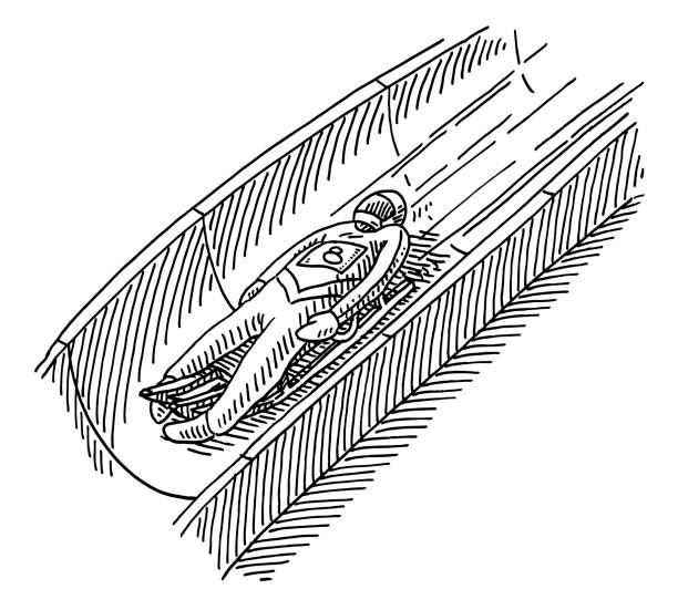 Luge Racer Winter Sport Drawing Hand-drawn vector drawing of a Luge Racer, Winter Sport. Black-and-White sketch on a transparent background (.eps-file). Included files are EPS (v10) and Hi-Res JPG. sport stock illustrations
