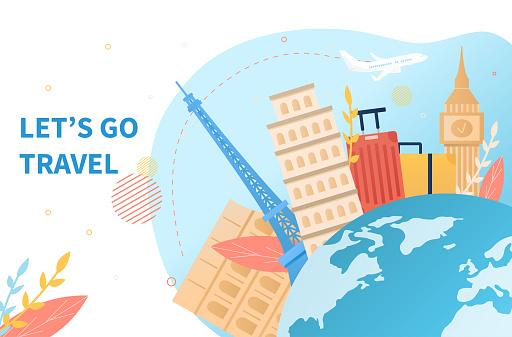 Luggage and landmarks around the globe