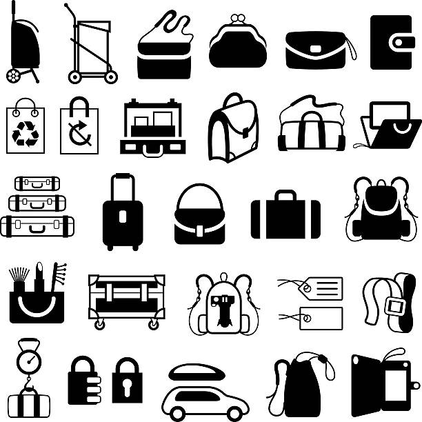 luggage, bags and cases icons - laptoptaschen stock-grafiken, -clipart, -cartoons und -symbole