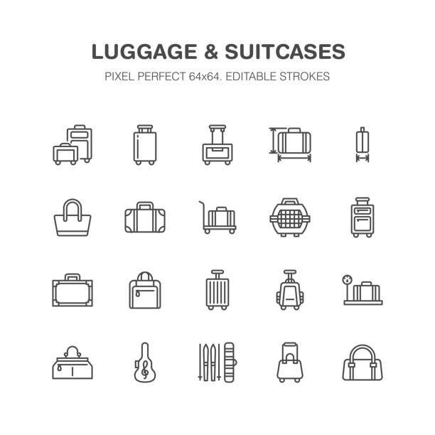 Luggage blue flat line icons. Carry-on, hardside suitcases, wheeled bags, pet carrier, travel backpack. Baggage dimensions and weight thin linear signs. Pixel perfect 64x64 Luggage blue flat line icons. Carry-on, hardside suitcases, wheeled bags, pet carrier, travel backpack. Baggage dimensions and weight thin linear signs. Pixel perfect 64x64. carry on luggage stock illustrations