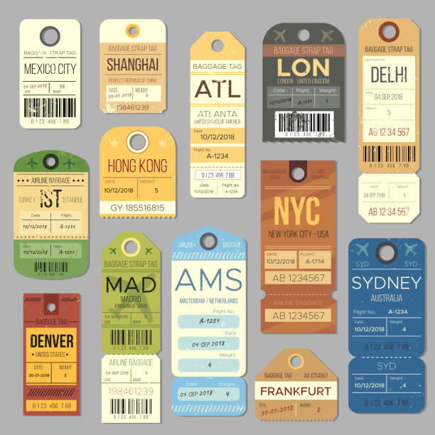 Luggage carousel baggage vintage tag symbols. Old train ticket and airline journey stamp symbol. London tour trip ticket vector set Luggage carousel baggage vintage tag symbols. Old train ticket and airline journey stamp symbol. London tour trip ticket vector set. Retro travel luggage labels airport borders stock illustrations