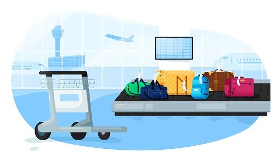 Luggage conveyor. Baggage suitcases