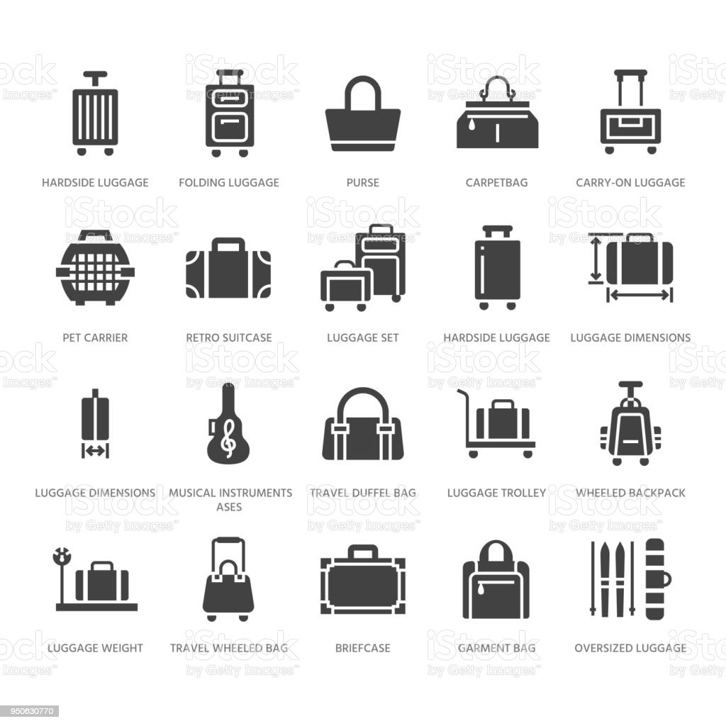 Luggage flat glyph icons. Carry-on, hardside suitcases, wheeled bags, pet carrier, travel backpack. Baggage dimensions and weight signs. Solid silhouette pixel perfect 64x64 vector art illustration