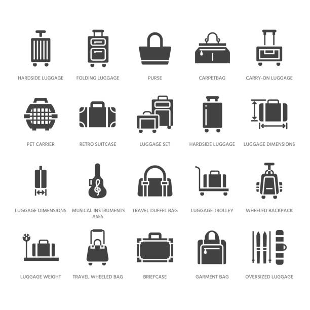illustrazioni stock, clip art, cartoni animati e icone di tendenza di luggage flat glyph icons. carry-on, hardside suitcases, wheeled bags, pet carrier, travel backpack. baggage dimensions and weight signs. solid silhouette pixel perfect 64x64 - borsetta