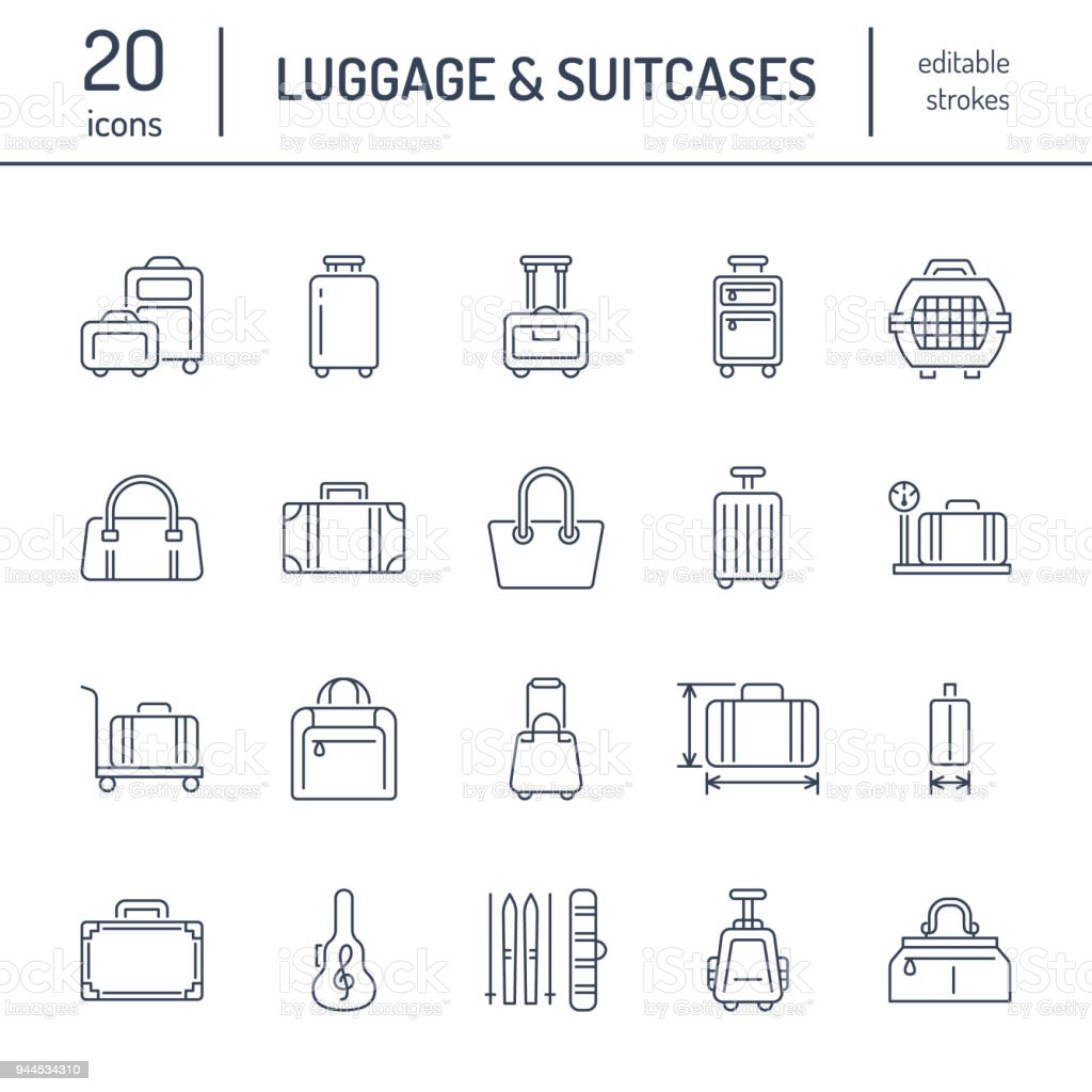 Luggage flat line icons. Carry-on, hardside suitcases, wheeled bags, pet carrier, travel backpack. Baggage dimensions and weight thin linear signs royalty-free luggage flat line icons carryon hardside suitcases wheeled bags pet carrier travel backpack baggage dimensions and weight thin linear signs stock illustration - download image now