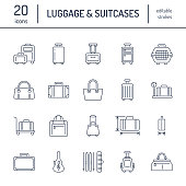 Luggage flat line icons. Carry-on, hardside suitcases, wheeled bags, pet carrier, travel backpack. Baggage dimensions and weight thin linear signs.