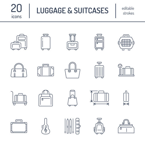 Luggage flat line icons. Carry-on, hardside suitcases, wheeled bags, pet carrier, travel backpack. Baggage dimensions and weight thin linear signs Luggage flat line icons. Carry-on, hardside suitcases, wheeled bags, pet carrier, travel backpack. Baggage dimensions and weight thin linear signs. change purse stock illustrations