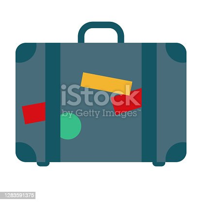 istock Luggage Icon on Transparent Background 1283591375