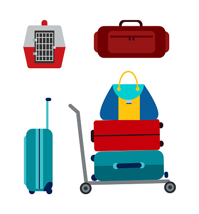 Luggage Icons Collection, Vector Illustration