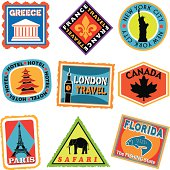 A vector illustration of luggage labels or travel stickers.