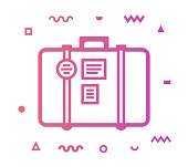 Luggage outline style icon design with decorations and gradient color. Line vector icon illustration for modern infographics, mobile designs and web banners.
