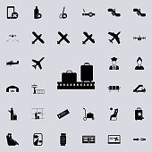 luggage on a conveyor belt icon. Airport Icons universal set for web and mobile