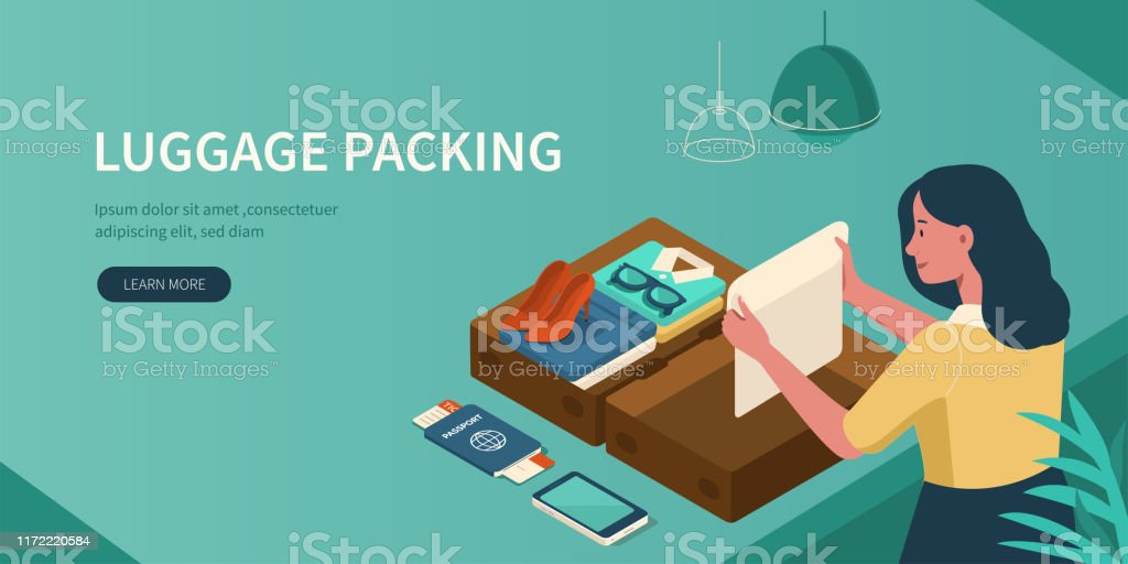 bagages d'emballage - clipart vectoriel de Adolescent libre de droits
