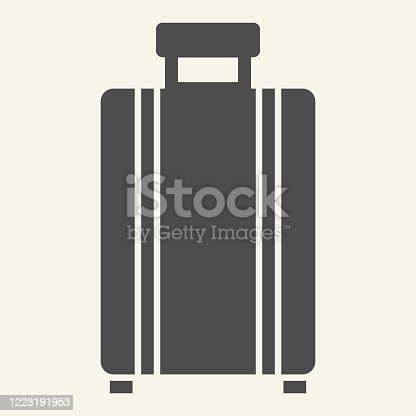 Luggage solid icon. Travel suitcase symbol, glyph style pictogram on beige background. Baggage sign for mobile concept and web design. Vector graphics