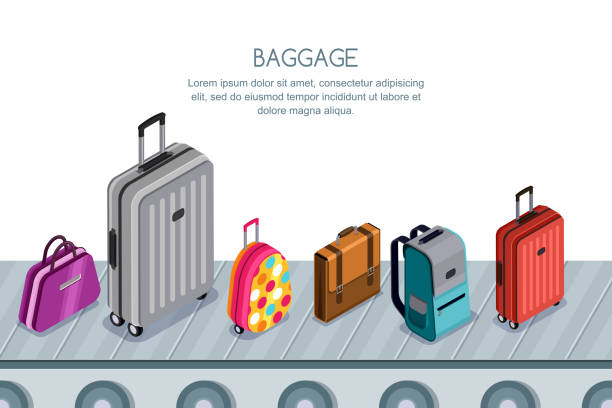 luggage, suitcase, bags on conveyor belt. vector 3d isometric illustration. concept for checked baggage claim. - luggage stock illustrations
