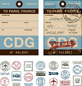 A set of do-it-yourself rubber stamps for vintage luggage tags. Included is a 'clean' tag as well as an aged and grungy design. File contains transparencies but no gradients, so will still print correctly.