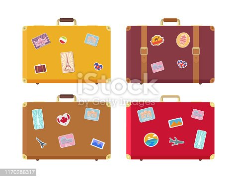 Luggage traveling bags with stickers isolated icons vector. Canada flag and Egyptian pyramids, Rome and UAE highest building, seaside sign airplane