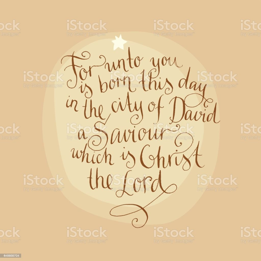 luke 2:11. Bible text. Christmas vector calligraphy vector art illustration
