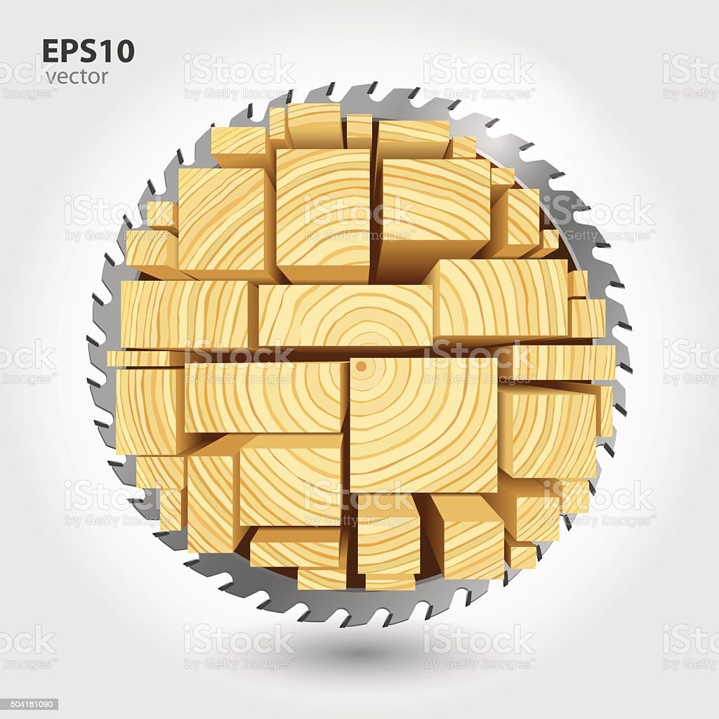 Lumber and wood slice illustration concept vector art illustration