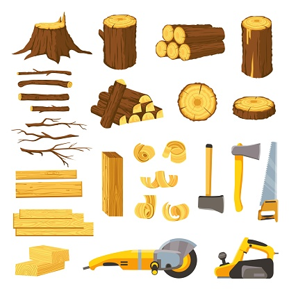 Lumber industry materials and tools. Wood planks, logs, board and tree chips. Axe, chisel, saw, grinder and belt sander. Woodwork vector set