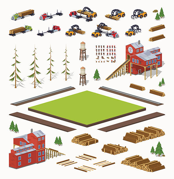 재목 제분기 공사장 설정 - 제조 공장 stock illustrations