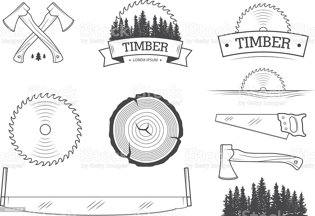 Lumber set vector art illustration