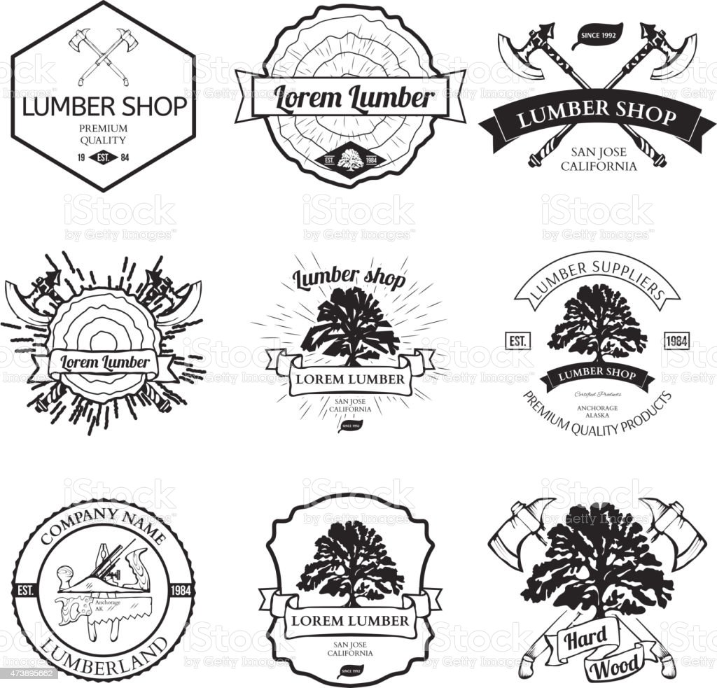 Lumber Shop Label Design Elements Vector vector art illustration
