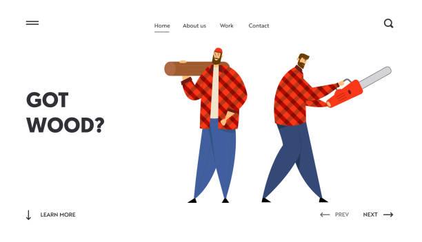 bildbanksillustrationer, clip art samt tecknat material och ikoner med timmer arbetare med arbetsutrustning och verktyg webbplats landningssida, par skogshuggare som innehar motorsåg och trä logga in händer. skogshuggare webbsida. tecknad platt vektor illustration, banner - endast vuxna