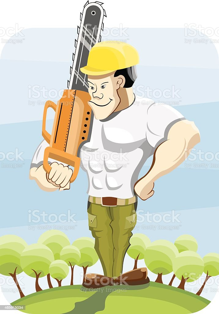 Lumberjack and chainsaw vector art illustration