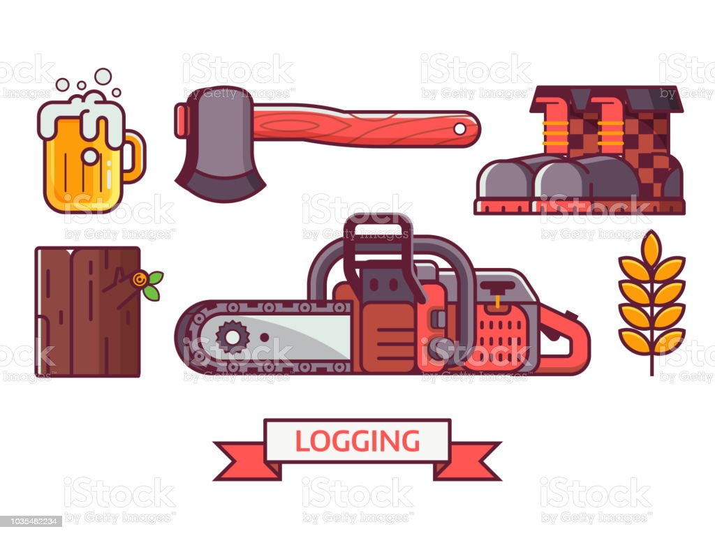 Lumberjack and Logging Icon Set vector art illustration