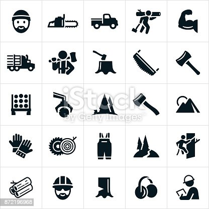 A set of lumberjack and logging icons. The icons represent the lumber industry.