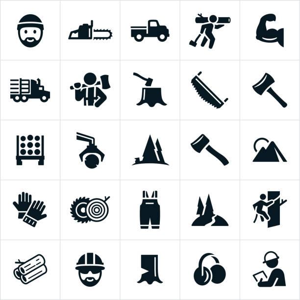 illustrazioni stock, clip art, cartoni animati e icone di tendenza di lumberjack and logging icons - industria forestale
