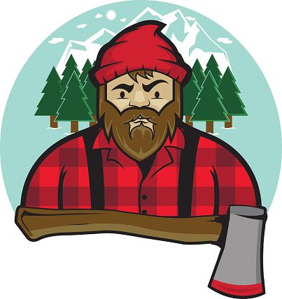 Retro looking bearded lumberjack in forest landscape with mountains in the background with an axe as the foreground of this illustration.