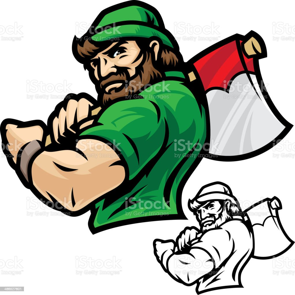 Lumberjack Axe Power vector art illustration