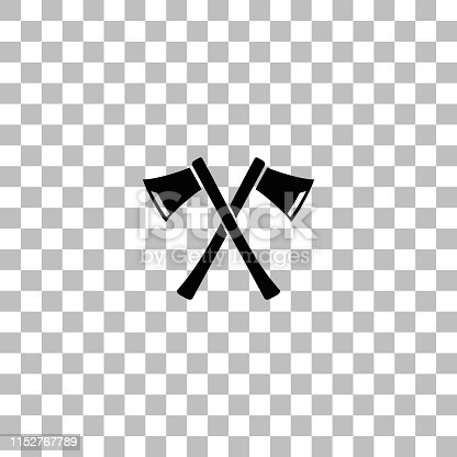 Lumberjack axes crossed. Black flat icon on a transparent background. Pictogram for your project