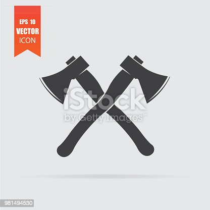 istock Lumberjack axes crossed icon in flat style isolated on grey background. 981494530