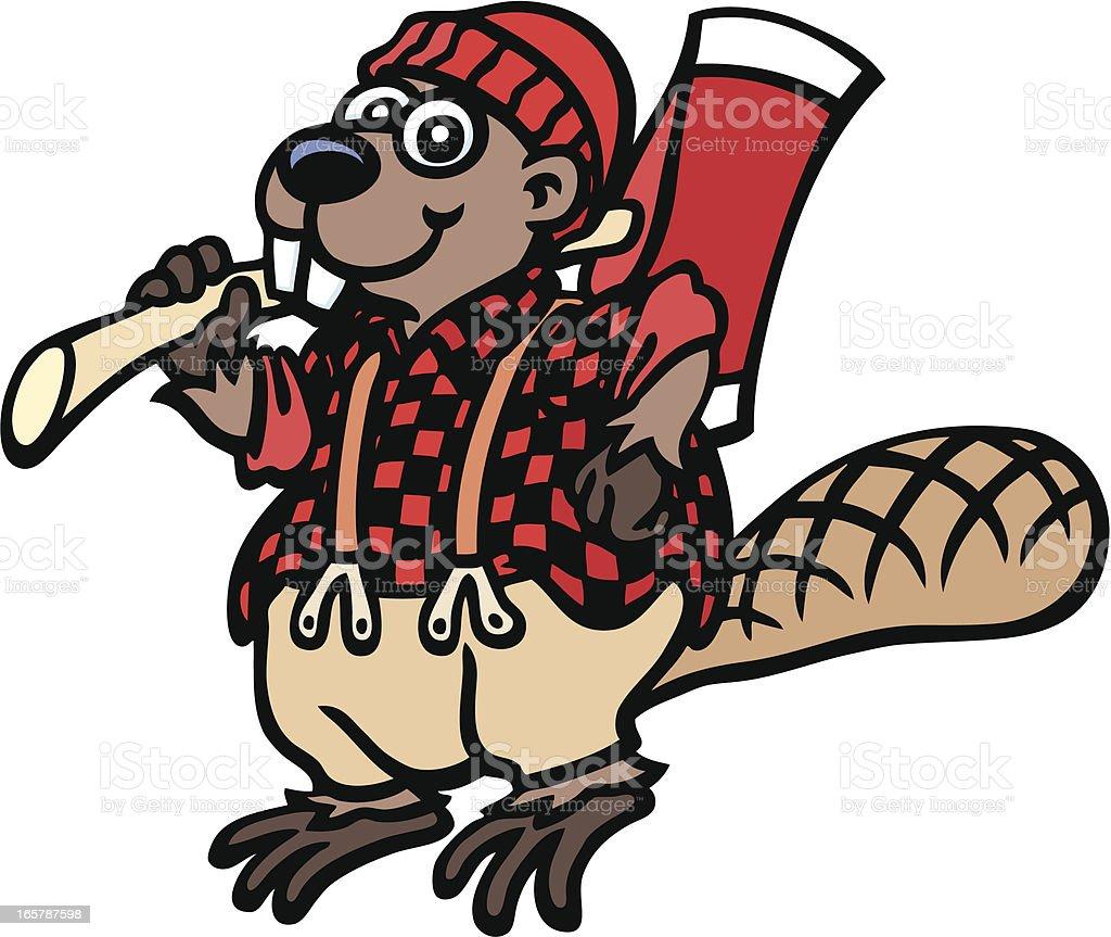 Lumberjack Beaver vector art illustration