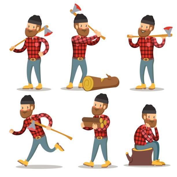 lumberjack cartoon character set. woodcutter - plaid shirt stock illustrations