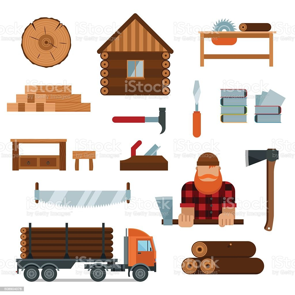 Lumberjack cartoon character with lumberjack tools icons vector illustration vector art illustration